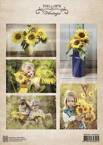 Nellie's Vintage Prints-Sunflowers NEVI079