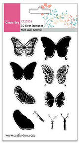 Crafts-Too 3D Clearstamp Set - Multi Layer Butterflies (10pcs) CT25805