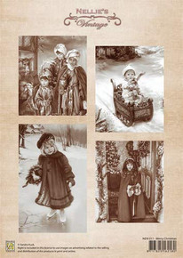 Nellie's Vintage Prints- Merry Christmas NEVI011