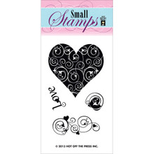 Hot Off The Press Acrylic Stamps 2'X3.25' Sheet-Love and Hearts
