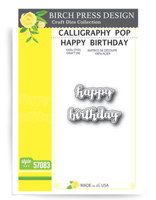 Birch Press Design Calligraphy Pop Happy Birthday Cutting Die- 57083