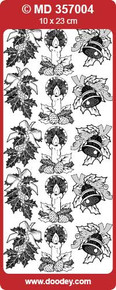 DOODEY MD357004 Silver Engraved Various Christmas set 2 Peel Stickers One 9x4 Sheet