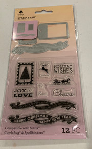 Firefly Stamp & Cut Christmas Banner Tag & Postage Stamp Set 36544