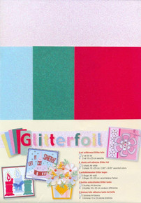 Jeje Glitterfoil 5-Pack Glitter Foil Sheets for Scrapbooking, Self Adhesive- 2 A4 White, 3 assorted colors 10x23 cm