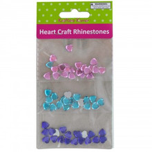 Krafter's Korner Heart Rhinestones - Appx 10mm Pink Blue Purple