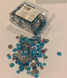 Acrylic Jewel Assortment Bright Sky Blue GIANT 7.6oz. 215g Box Assorted Sizes