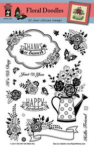 Hot Off The Press Floral Doodles Silicone Stamp Set