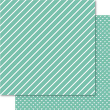 Ruby Rock-It Bella Hearts & Stripes Foiled Cardstock 12'X12'-Lucite