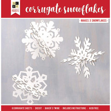 DCWV Paper Project Christmas-12 x 12-Corrugate 3 Snowflakes-Gloss 614728, Multicolor