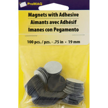 ProMAG- Magnets with Adhesive- 100 pc- 0.75in