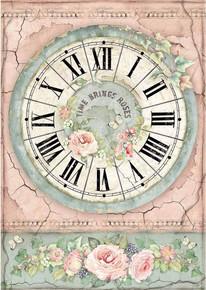 STAMPERIA INTERNATIONAL, KFT DFSA4444 Rice Paper A4 Clock
