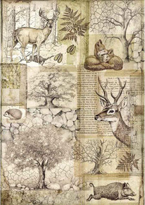 STAMPERIA INTERNATIONAL, KFT DFSA4426 Rice Paper A4 Deer, Deer & Wild Boar