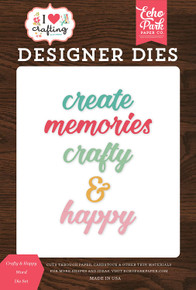 Echo Park Paper Company IHC169042 Crafty & Happy Word Set die, Teal, Pink, Coral, Brown, Woodgrain, Green, Yellow