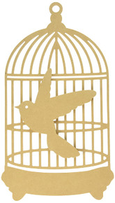 Kaisercraft Beyond The Page MDF Traditional Birdcage with Bird, 9-1/2-Inch by 16.25-Inch by .25-Inch Cage, 6-Inch by 5.75-Inch by .25 Bird