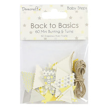 Dovecraft Back to Basics Baby Steps Bunting, 14 x 10 x 1 cm, Yellow