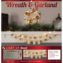 DCWV DIY Light Up Project Stack-Poinsettia Wreath; Ball & Flag Garland