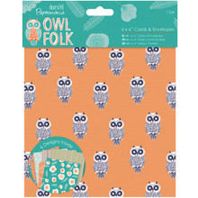 Papermania Owl Folk Cards W/Envelopes 6''X6'' 12/Pkg-'