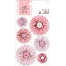 Papermania Wild Rose Pinwheels, 6-Pack