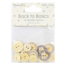 Dovecraft Back to Basics Baby Steps Wooden Buttons, 14 x 10 x 1 cm, Yellow