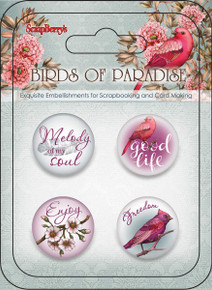 Scrapberry's Metal Buttons Birds of Paradise Embellishments 4/Pkg