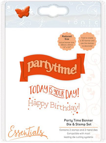 TONIC STUDIOS Party Time Banner Die and Stamp Set, Rubber & Metal Stainless Steel/Clear, 3.9 x 9.1 x 0.2 cm