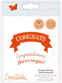TONIC STUDIOS Congrats Banner Die and Stamp Set, 4.3 x 8.7 x 0.2 cm, Stainless Steel/Clear