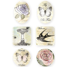 Ultimate Crafts Rambling Rose Cabochons 6/Pkg-