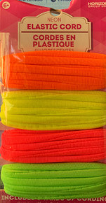 """ELASTIC NEON 18 ft. package 4 Assorted Colors Per Card 1/4"""" WIdth PERFECT FOR FACEMASKS"""
