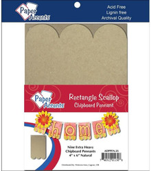 Paper Accents ADPPEN.25 Chip Pennant RectScallop4x6Nat ChipPennantRecScallp