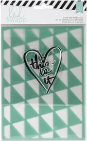 American Crafts Wanderlust Stamp & Stencil Set 5''X7''-This is It'