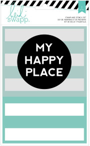 American Crafts Wanderlust Clear Stamp & 5''X7'' Stencil Set-My Happy Place'