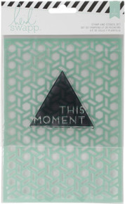 American Crafts 369386 Wanderlust Stamp & Stencil Set 5''X7''-This Moment'