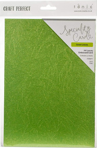 Craft Perfect A4 Luxury Embossed Card - Green Leaves