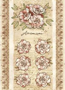 Stamperia A4 Rice Paper - Anemone