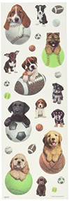 Sandylion Puppies Glitter Stickers, 4 by 12-Inch, Clear