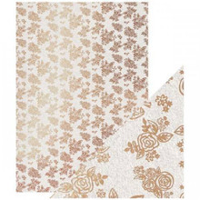 Craft Perfect- A4 Foiled Kraft Card- Rose Gold Posies- 9349E