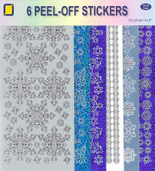 JEJE Peel-Off Stickers 6-Packs Snowflake Designs- 3.9902