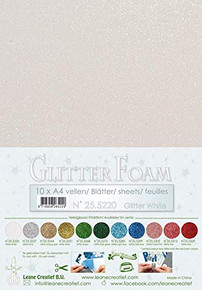 Leane Creatief Glitter Foam 10 A4 Sheets- Glitter White