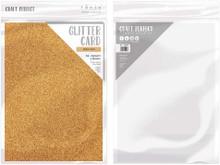 Craft Perfect Glitter Card 5PC - Welsh Gold 9962E