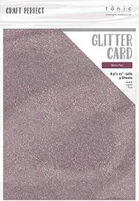 Craft Perfect Glitter Card 5PC - Berry Fizz 9972E