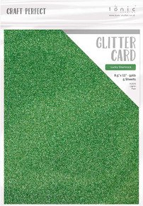 Craft Perfect Glitter Card 5PC - Lucky Shamrock9965E