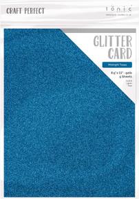 Craft Perfect Glitter Card 5PC - Midnight Topaz 9967E