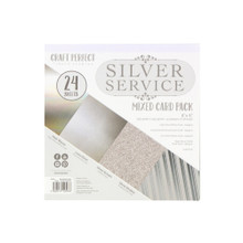 Craft Perfect Silver Service Mixed Card Pack 6x6 Mirror, pearlescent, and glitter card