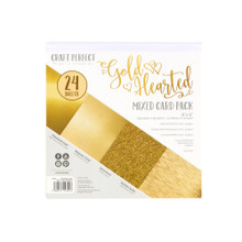 Craft Perfect Gold Hearted Mixed Card Pack 6x6 Mirror, pearlescent, and glitter card