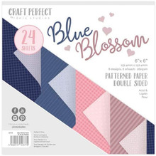 Craft Perfect Blue Blossom Patterned Paper Pack 6x6 Double Sided paper