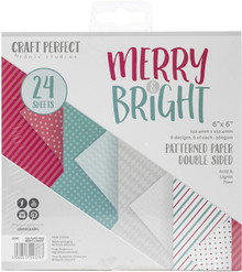 Craft Perfect Merry & Bright Patterned Paper Pack 6x6 Double Sided paper