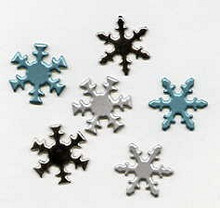 50 Creative Impressions- Silver & Light Blue Snowflake Brads - 50 Pieces!