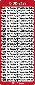 Doodey B101 - DD2429 Happy Birthday - SMALL BLACK Peel Stickers One 9x4 Sheet