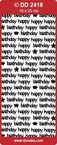 DD2418 Doodey BLACK Happy Birthday Stickers Peel Outline