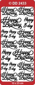 DD2433 Gold Happy Birthday Peel Stickers in 3 sizes One 9x4 Sheet